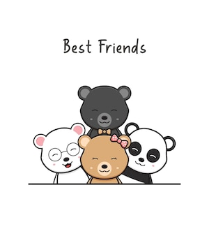 Cute bear best friends greeting cartoon doodle card icon illustration flat cartoon style