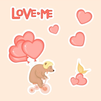 Cute bear on a bicycle with hearts for valentine's day in cartoon style. lettering love. stickers.