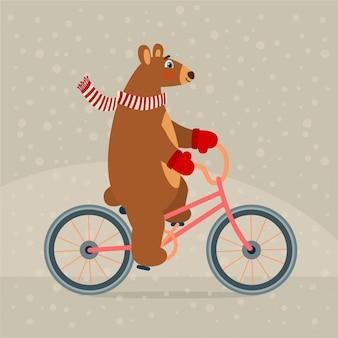 Cute bear on bicycle