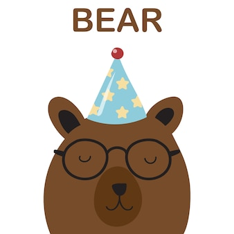 Cute bear birthday invitation