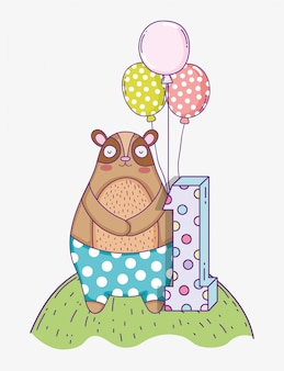 Cute bear birthday one year with balloons