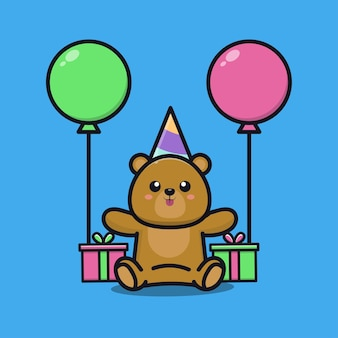 Cute bear birthday party with gift and balloon cartoon illustration