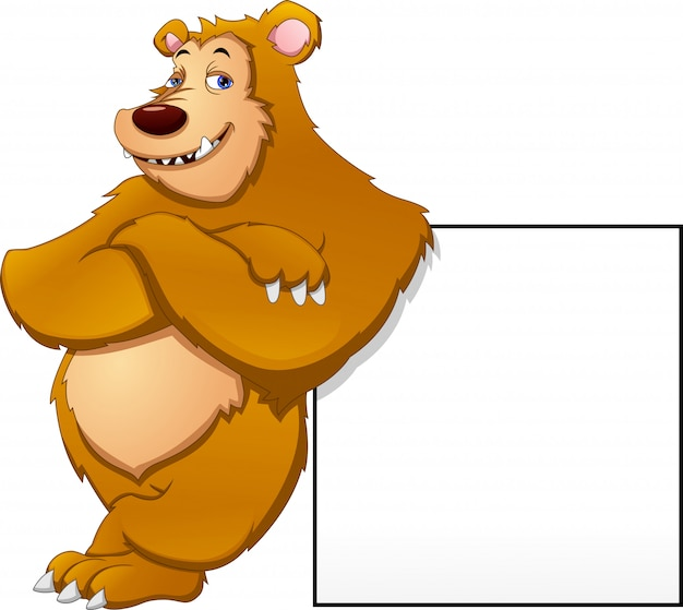 Cute bear and blank sign