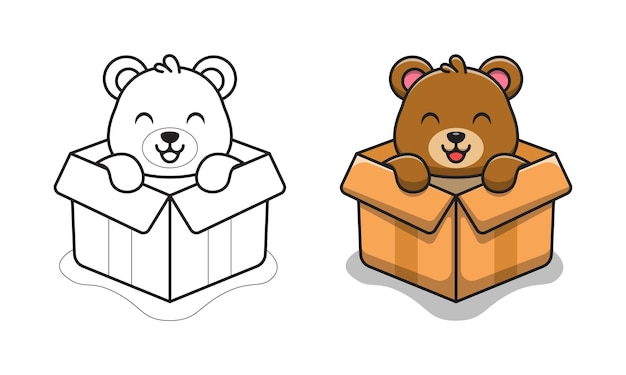 Cute bear in box cartoon for coloring