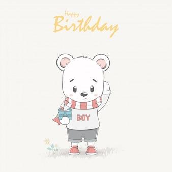 Cute bear boy cartoon Happy birthday greeting and invitation card.