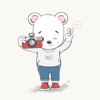 Cute bear boy take a photo cartoon hand drawn vector