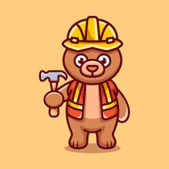 Милый медведь-строитель с молотком