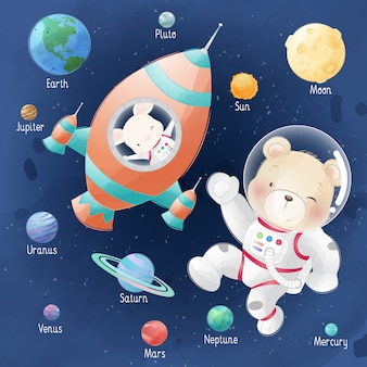 Cute bear and bunny in the galaxy