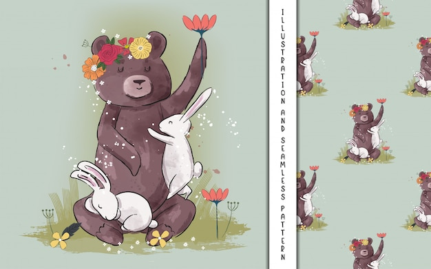 Cute bear and bunny with flowers for kids