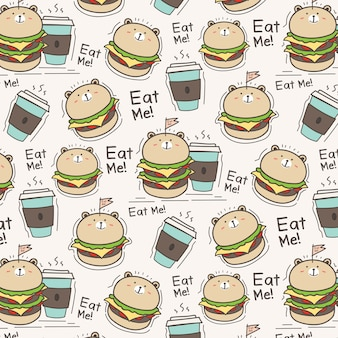 Cute Bear Burger And Coffee Cup Pattern Background.