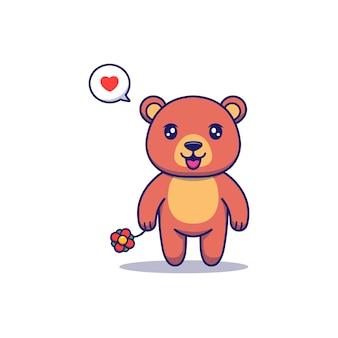 붉은 꽃을 들고 귀여운 곰