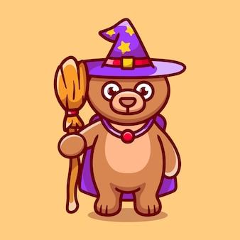 Cute bear carrying flying broom