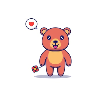 Cute bear carrying a red flower