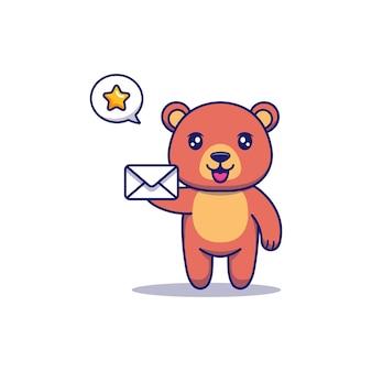 Милый медведь, несущий белое письмо