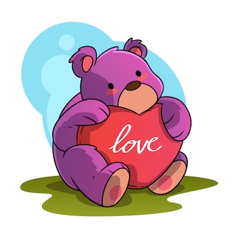 Cute bear cartoon animal hugging love symbol
