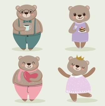 Cute bear cartoon caracter set