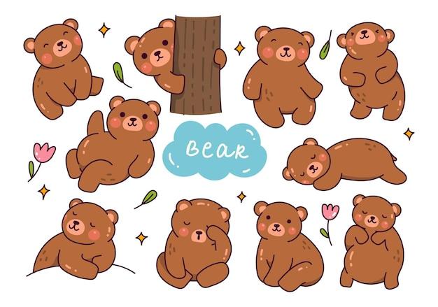 귀여운 곰 만화 낙서 세트