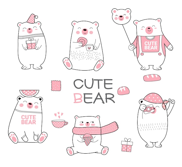 Cute bear cartoon hand drawn style
