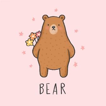 Cute bear cartoon hand drawn style