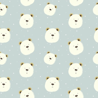 Cute bear cartoon pattern