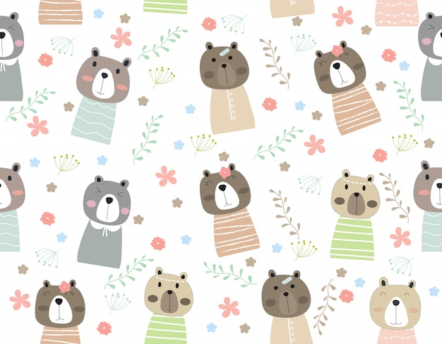 Cute bear cartoon seamless pattern animal with leaf and flower