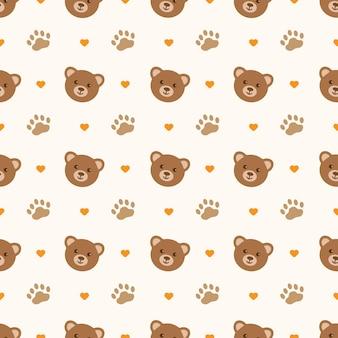 かわいいクマの漫画のシームレスなパターン