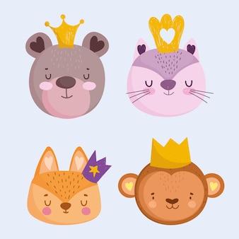 Милый медведь, кошка, обезьяна и лиса с короной, животные, лица, мультяшный набор