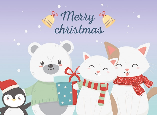 Cute bear, cats and penguins with gift illustration