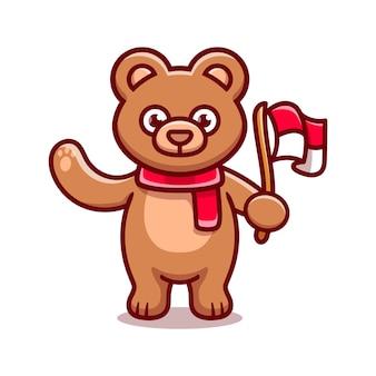 インドネシアの独立記念日を祝うかわいいクマ