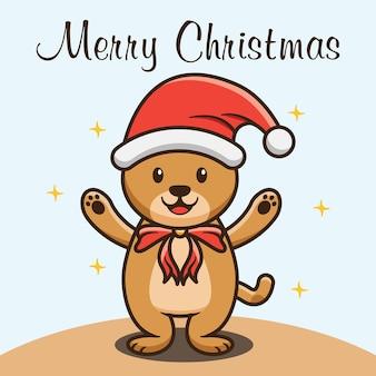Cute bear celebrating marry christmas cartoon design