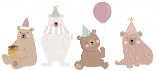 Cute bear character with friend