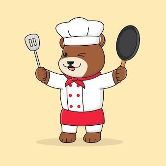 Cute bear chef