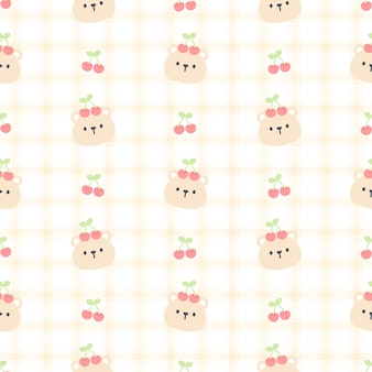 Cute bear and cherry seamless pattern