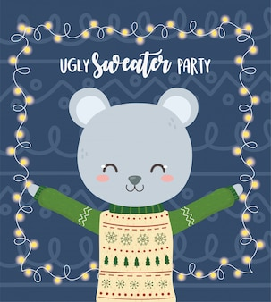 Cute bear christmas ugly sweater party