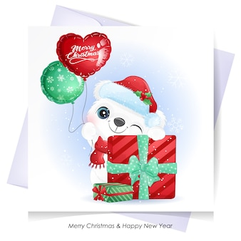 Cute  bear for christmas with watercolor illustration