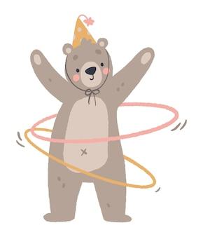 훌라후프 키즈 프린트가 있는 귀여운 곰 서커스