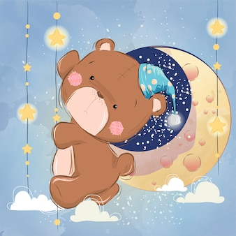 Cute bear climbing to the moon
