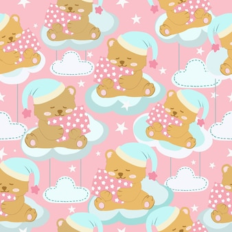 Cute bear on the cloud cartoon seamless pattern.