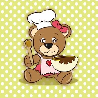 Cute bear cooking