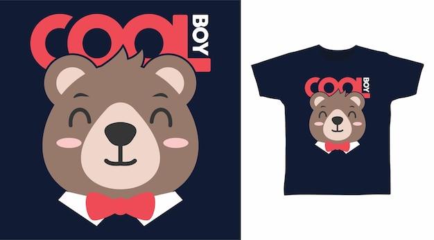 かわいいクマのクールな男の子のtシャツのデザイン