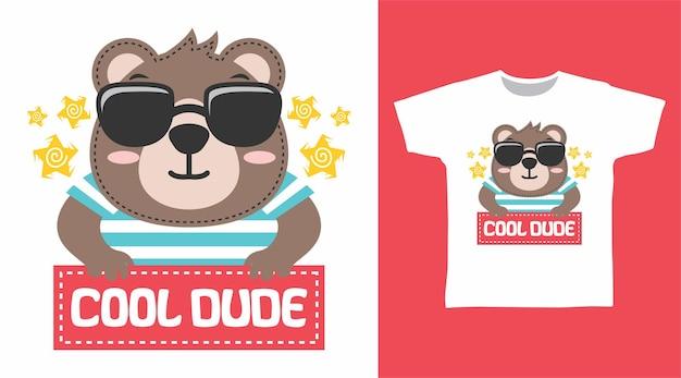かわいいクマのクールな男tシャツのデザイン