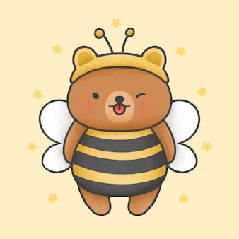Cute bear costume bee cartoon hand drawn style