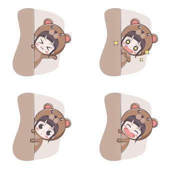 Cute bear costume girl hiding cartoon illustration