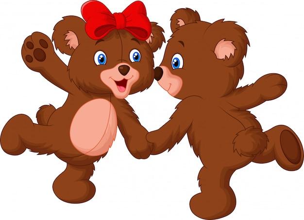 かわいいクマのカップルダンス