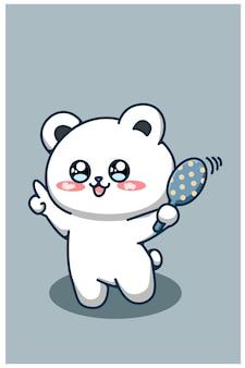 A cute bear dancing cartoon illustration