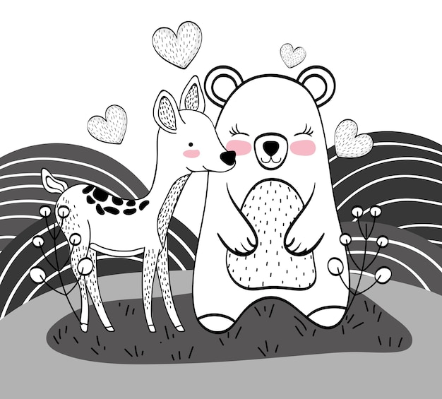 Cute bear and deer animals with hearts