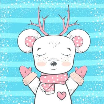 Симпатичный медведь, олень - иллюстрация ребенка