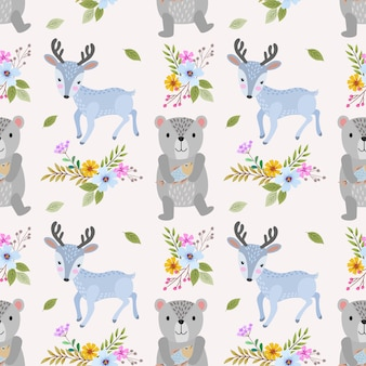 Cute bear and deer seamless pattern.