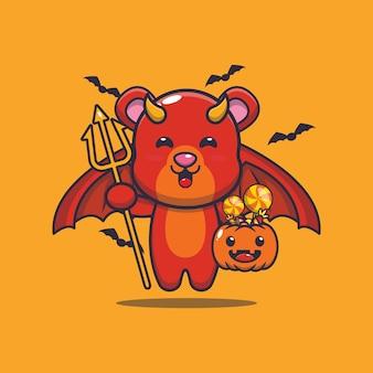 Cute bear devil carrying pumpkin halloween cute halloween cartoon illustration