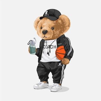 バスケットボールを保持しているスポーツトラックスーツのかわいいクマ人形